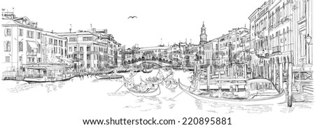 Venice - Grand Canal. View of the Rialto Bridge. Vector drawing - stock vector