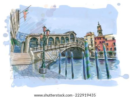 Venice - Grand Canal. View of the Rialto Bridge. Vector drawing - stock vector