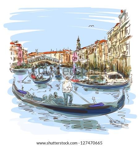 Venice - Grand Canal. View of the Rialto Bridge. Vector sketch. Eps10 - stock vector