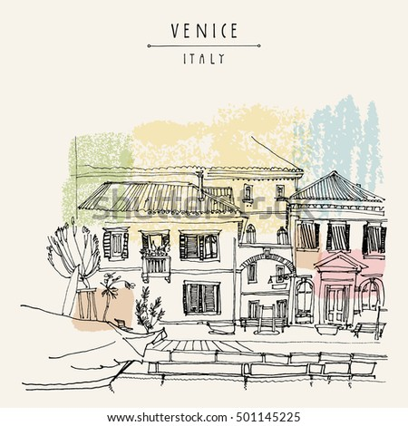Venice, Italy, Europe. Freehand drawing of a canal, houses, boat. Vintage artistic illustration with hand lettered title. Retro style travel sketchy postcard poster greeting card template