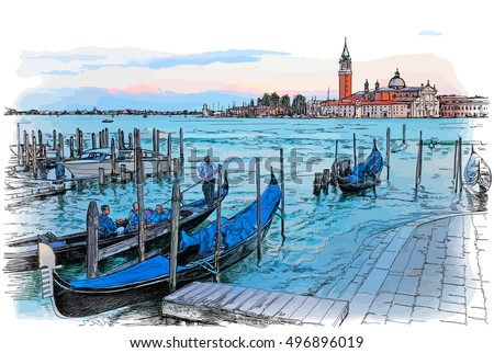 Venice. Italy. Quay Piazza San Marco. Gondolas on the water & Island of San Giorgio Maggiore. Vector color illustration