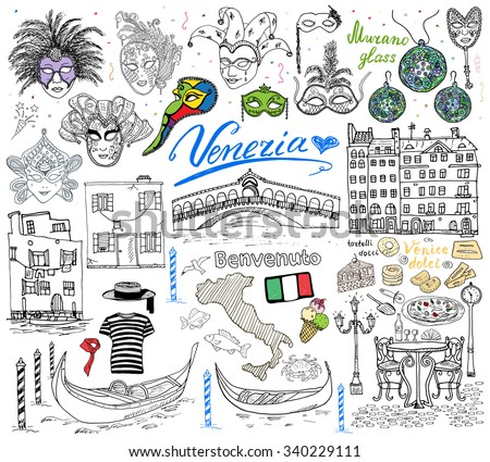 stock vector venice italy sketch elements hand drawn set with flag map gondolas gondolier clothes houses 340229111 - Каталог — Фотообои «Венеция»