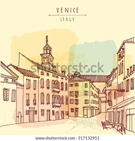 Venice, Italy. Venetian city square with a cafe and a Catholic church belfry. Retro style vector postcard or poster template, hand lettered title. Travel sketch - stock vector