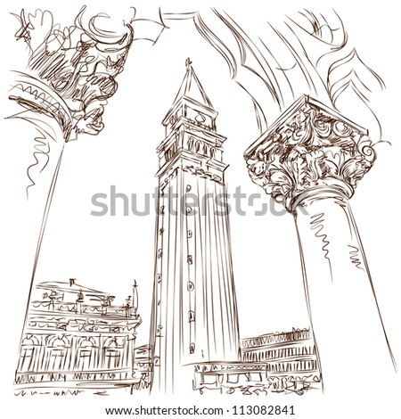 Venice - Piazza San Marco and Kampanila. View from the Doge's Palace. Vector sketch - stock vector