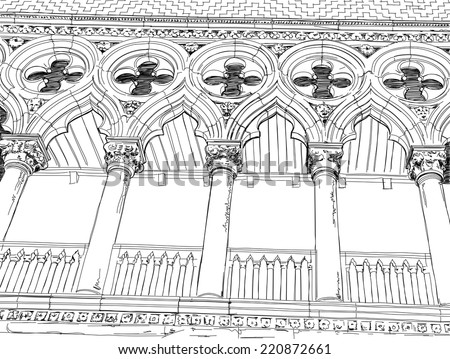 Venice - Piazza San Marco. Columns of the Doge's Palace. Vector drawing - stock vector