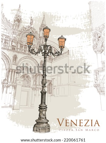 Venice. Piazza San Marco. lantern on St. Mark's Square & corner of the Doge's Palace. Vector illustration. Eps10 - stock vector