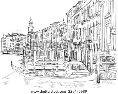 Venice - view of the Grand Canal near the Rialto Bridge. Vector drawing - stock vector