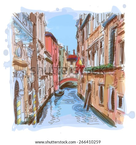Venice - water canal, old buildings & gondola away. Vector illustration. Eps10 - stock vector