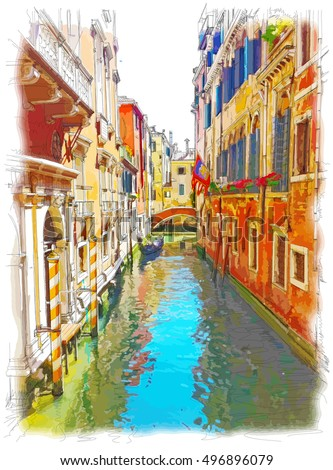 Venice - water channel, old buildings & gondola away. Vector drawing
