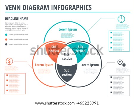 Venn Diagram Circles Infographics Template Design Stock Vector