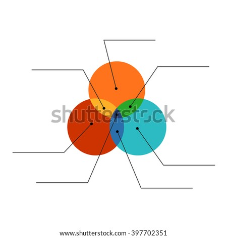 Venn Diagram Flat Style Color Infographics Stock Vector Royalty