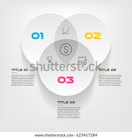 Venn diagram infographics three circle design stock vector 623457284 venn diagram infographics for three circle design vector and marketing can be used for workflow layout ccuart Image collections