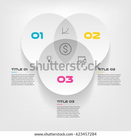 Venn Diagram Infographics Three Circle Design Stock Vector 2018