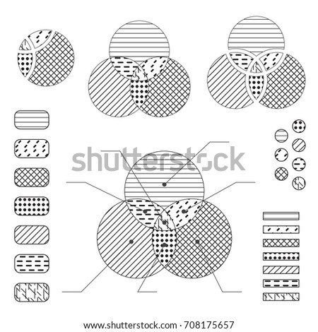 Venn Diagram Note Lines Black Isolated Stock Vector 708175657