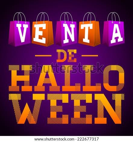 Venta De Halloween Halloween Sale Spanish Stock Vector 222677317 ...
