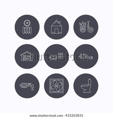 Ventilation, garage and heat radiator icons. Gas, water and electricity counter linear signs. Real estate, toilet and fire hose icons. Flat icons in circle buttons on white background. Vector - stock vector