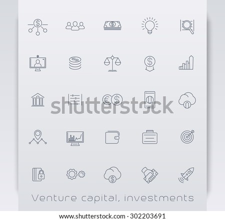 Venture capital, investments, stock exchange, line icons, vector illustration, eps10, easy to edit - stock vector