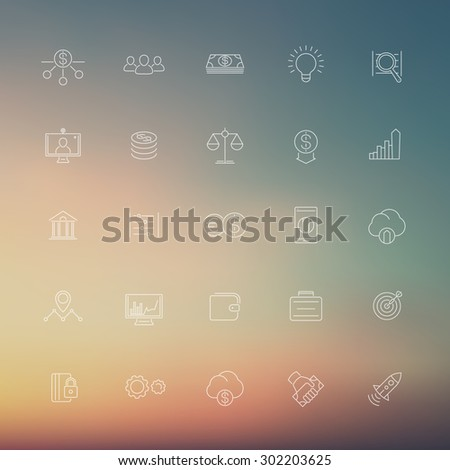 Venture capital, investments, stock exchange, linear white icons, vector illustration, eps10, easy to edit - stock vector