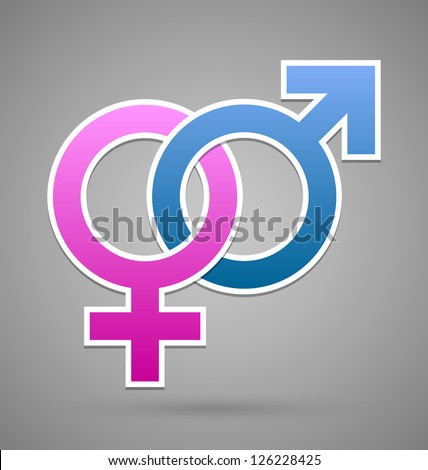 Venus and Mars female and male symbol isolated on grey background - stock vector
