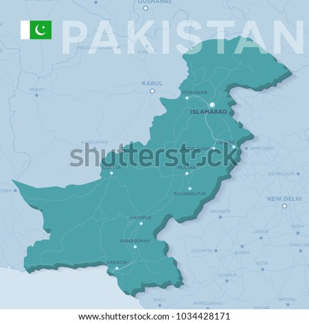 Verctor Map of cities and roads in Pakistan.