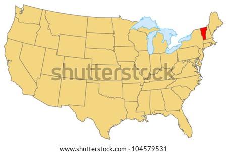 Vermont Locate Map - stock vector