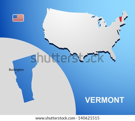 Vermont on USA map with map of the state