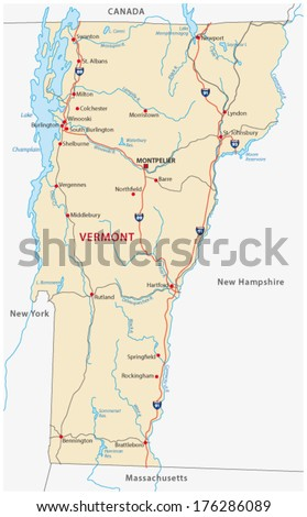 Vermont Map Stock Images RoyaltyFree Images Vectors Shutterstock - Road map of new hampshire