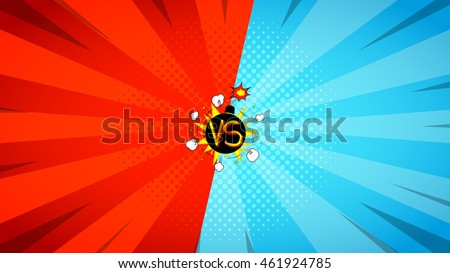 Versus letters fight illustration. Vector backdrop. Decorative background with bomb explosive in pop art style. - stock vector