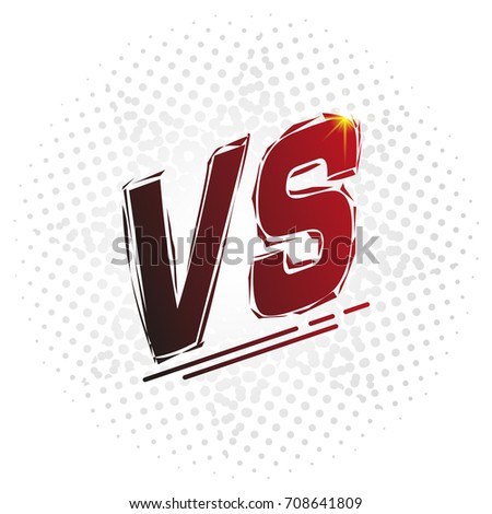 Versus screen, vs letters. Competition vs match game, martial battle vs sport