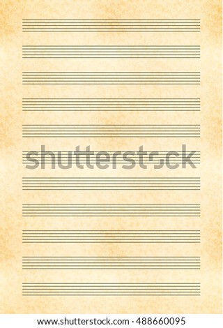 Vertical a4 size yellow sheet of old paper with music note stave