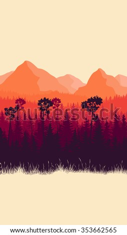 Vertical abstract illustration of mountains and coniferous forest with grass (in red tone). - stock vector