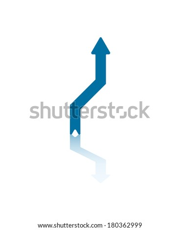 Vertical Arrow Deviating From Previous Path Illustration - stock vector