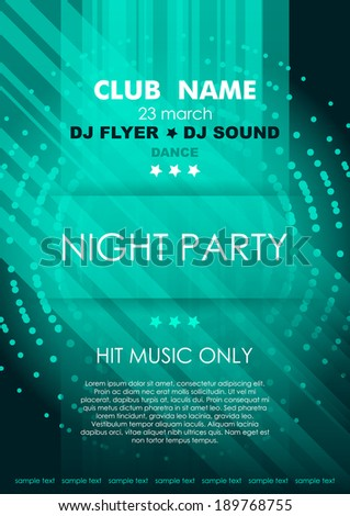Vertical azure music party background with lines, mosaic and place for text.  Vector version. - stock vector