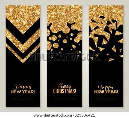 Vertical Back and Gold Banners Set, Greeting Card Design. Golden Foil Geometric Shapes. Vector Illustration. Happy New Year Poster Invitation Template. Merry Christmas Season Greetings.  - stock vector