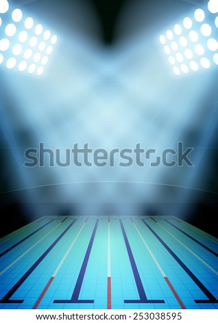 Vertical Background for posters night swimming pool stadium in the spotlight. Editable Vector Illustration. - stock vector