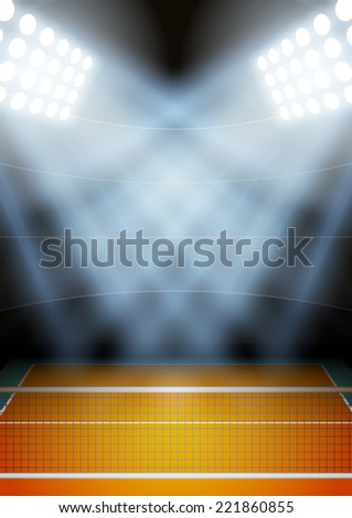 Vertical Background for posters night volleyball stadium in the spotlight. Editable Vector Illustration. - stock vector