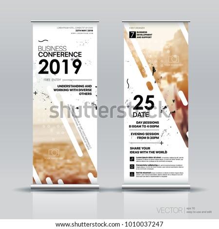 Vertical Banner Design Signboard Advertising Brochure Stock Vector
