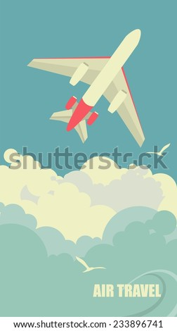 vertical banner with the image of an airplane flying up against the sky - stock vector