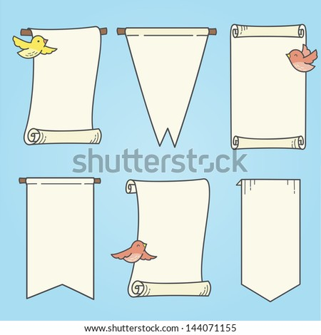 Vertical Banners and Birds - stock vector