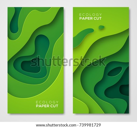 Vertical banners set 3D abstract background, green paper cut shapes. Vector design layout for business presentations, flyers, posters and invitations. Carving art, environment and ecology elements