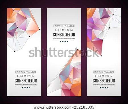 Vertical banners set with polygonal abstract shapes, with circles, lines, triangles / Vector illustration for your business presentations. EPS10. - stock vector