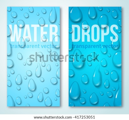 Vertical Banners Set with Water Drops. Vector illustration. Realistic Transparent Dew on Blue Background - stock vector