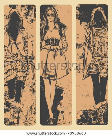 vertical banners with female fashion models. drawing style. vector illustration - stock vector