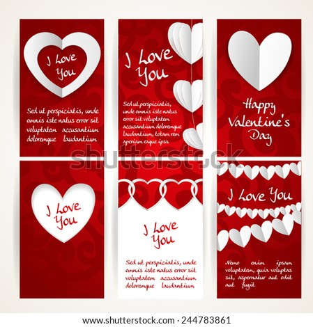 Vertical banners with garlands of paper hearts for Valentine's Day - stock vector