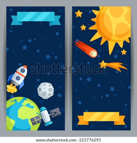 Vertical banners with solar system and planets. - stock vector