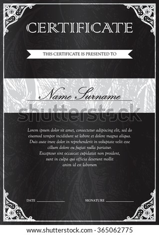 Vertical black certificate and diploma template with vintage, floral, filigree and cute pattern for winner for achievement. Blank of award coupon. Vector