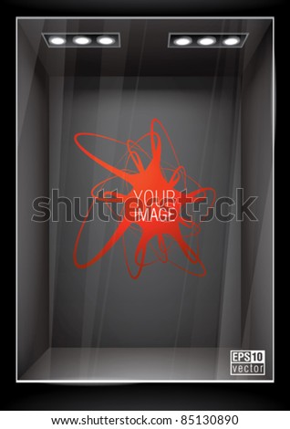 Vertical black storefront. Place for product or image, eps10 vector - stock vector