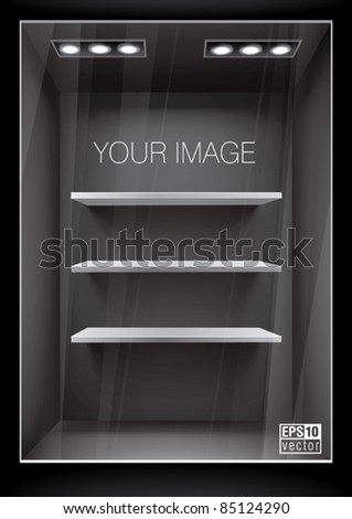 Vertical black storefront with shelves. Eps10 vector - stock vector