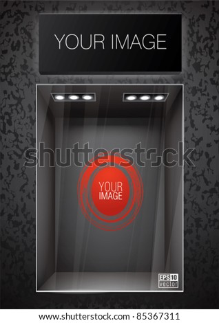 Vertical black storefront with signboard. Place for a product or image - stock vector
