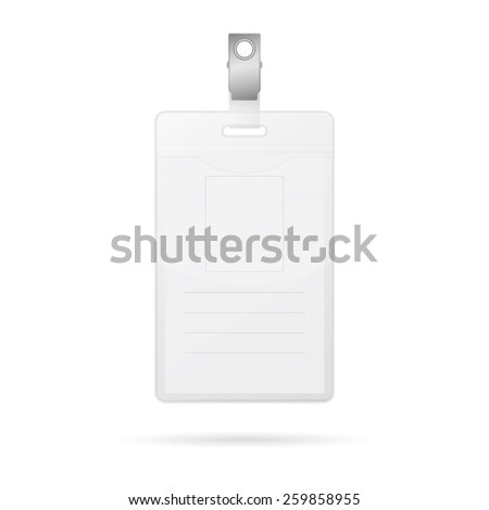 Vertical blank id card isolated on white. Vector EPS10 illustration.  - stock vector